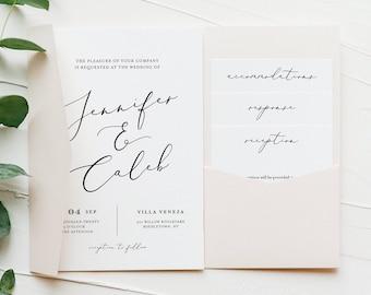 Modern Script Pocket Wedding Invitation Set, Minimalist Invite & Enclosure Cards, Instant Download, 100% Editable Template, Templett #045PF