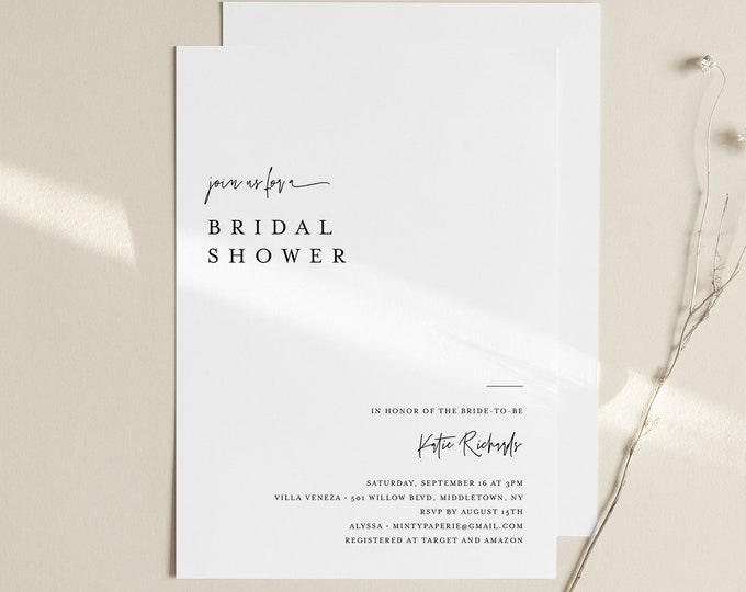 Minimalist Bridal Shower Invitation Template, Simple Couples Shower Invite, Wedding Shower, 100% Editable, INSTANT DOWNLOAD #0009-289BS