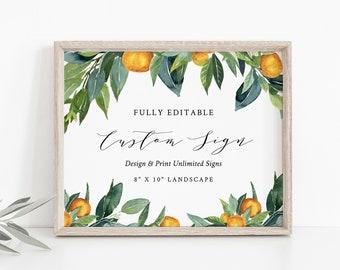 Custom Sign Template, Wedding / Bridal Shower Table Sign, Citrus Garden, Orange Grove, Unlimited Signs, INSTANT DOWNLOAD, Templett 084-134CS