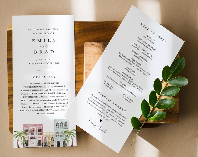 Charleston Wedding Program Template, Rainbow Row, Order of Service, Editable, Printable Program, Instant Download, Templett #017B-242WP