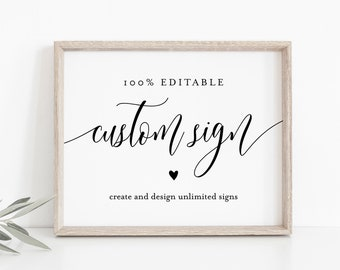 Editable Custom Wedding Sign Template, Bridal Shower Sign, Create Any Sign Unlimited Times, INSTANT DOWNLOAD, Printable, 5x7, 8x10 008-128CS