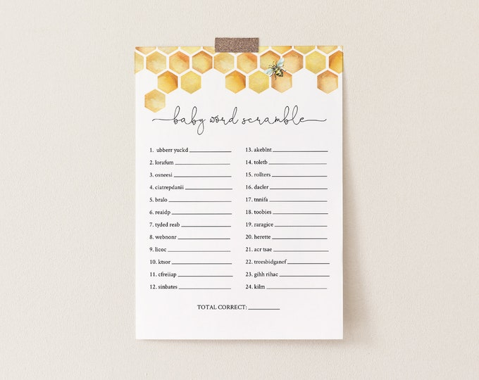 Baby Word Scramble Game, Printable Baby Word Puzzle, Honey Bee Baby Shower Game, Editable Template, INSTANT DOWNLOAD, Templett #097-165BASG