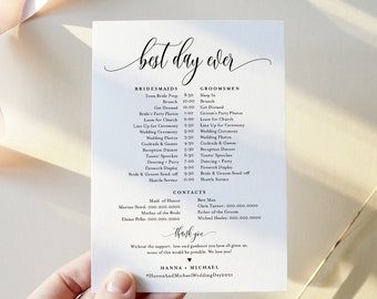 Bridal Party Schedule, Minimalist Wedding Timeline, Order of Events, Itinerary for Bridesmaid & Groomsmen, Editable, Templett #008-102BPT