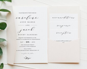 Pocket Wedding Invitation Set, Minimalist Calligraphy Invite & Enclosure Cards, Instant Download, 100% Editable Template, Templett #037PF