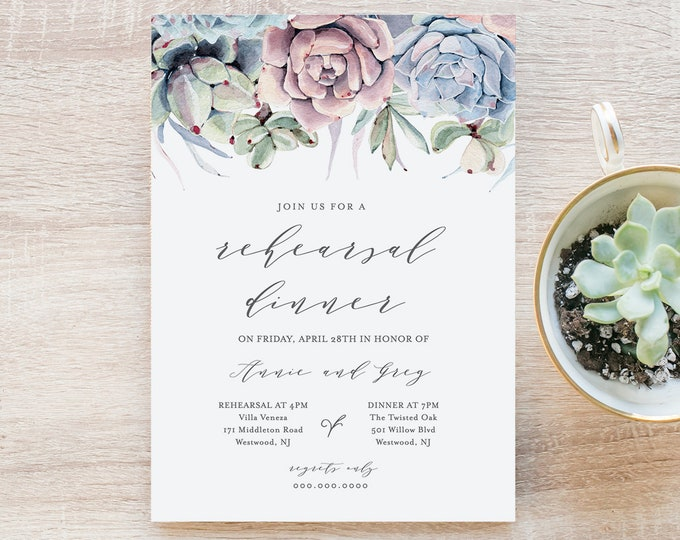Rehearsal Dinner Template, INSTANT DOWNLOAD, Printable Succulent Rehearsal Invitation, 100% Editable Text, Boho Wedding, Cactus #041-127RD
