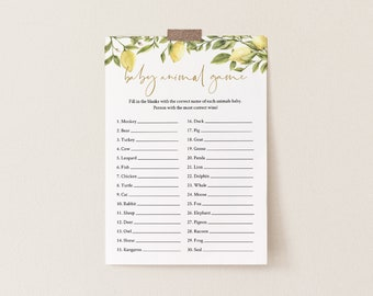 Baby Animal Game, Summer Citrus Lemon Baby Shower Game Template, 100% Editable Text, Printable, Instant Download, Templett, DIY #089-112BASG