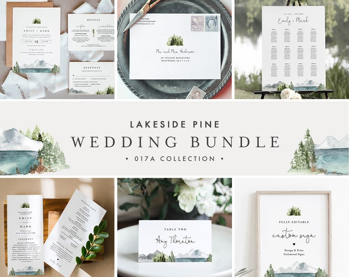 Lakeside Wedding Bundle, Mountain Pine Wedding Invitation Suite + Essentials, 100% Editable Template, Instant Download, Templett 017A-BUNDLE