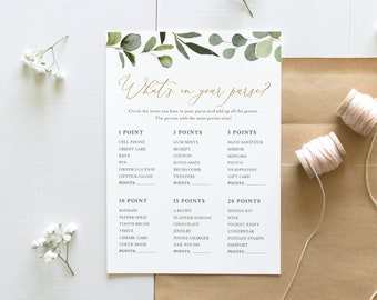 What's In Your Purse Bridal Shower, Greenery & Gold Bridal Shower Game, Editable Template, Instant Download, Templett, 5x7 #056-221BG