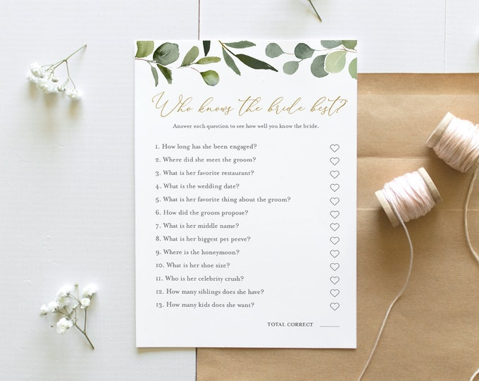Who Knows the Bride Best Bridal Shower Game, Printable Greenery Bridal Shower Game, Editable Template, Instant Download, Templett #056-217BG