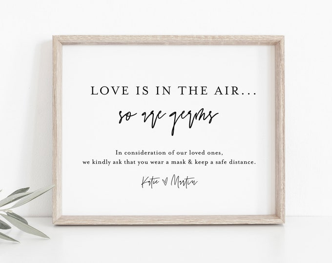Social Distance Wedding Sign, Minimalist, Love is in the Air, Covid sign, 100% Editable Template, Instant Download, Templett #0009-36S