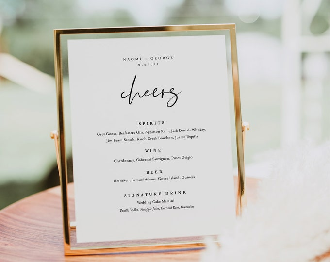 Minimalist Bar Menu Sign, Printable Wedding Bar Menu, Alcohol Drinks Menu, 100% Editable Template, Instant Download, Templett #096-103BM