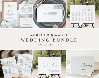 Modern Minimalist Wedding Bundle, Wedding Essential Templates, Simple Invitation Suite, 100% Editable, Instant Download, Templett 096-BUNDLE