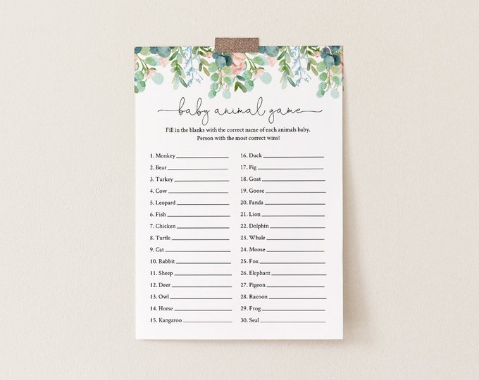 Baby Animal Game, Printable Baby Shower Game, Editable Template, Lush Garden Greenery, Printable, Instant Download, Templett  #068A-158BASG