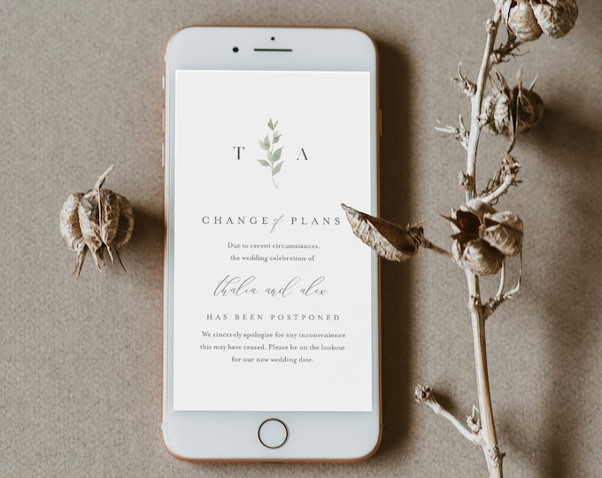 Change of Plans Announcement, Postponed Wedding Date, Digital, Social Media, Text Message, 100% Editable, INSTANT DOWNLOAD #0004B-109PA