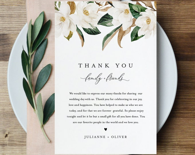 Magnolia Thank You Letter, Napkin Note, Printable Wedding Menu Thank You, Editable Template, Instant Download, Templett, 4x6 #015-143TYN