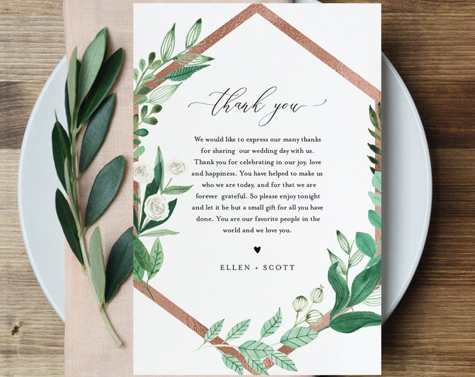 Thank You Letter, Greenery Napkin Note, Printable In Lieu of Favors Card, Editable Template, Instant Download, Templett 4x6 #080A-156TYN