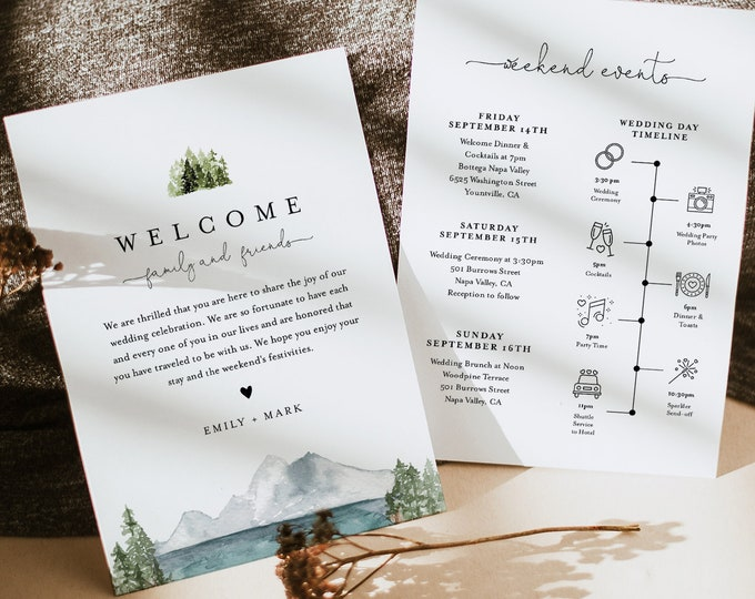 Lake Welcome Bag Letter & Timeline Template, Pine Wedding Order of Events, Editable Itinerary, INSTANT DOWNLOAD, Templett #017A-139WB