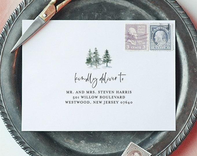 Pine Tree Envelope Template, DIY Woodland Wedding Address Printable, Instant Download, 100% Editable Text, Templett, A1, A7 Sizes #073-115EN