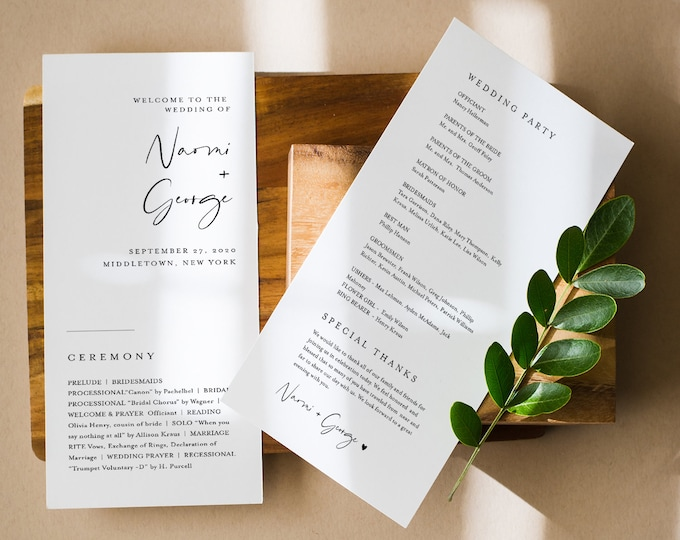 Minimalist Wedding Program Template, Modern & Simple Order of Service, Editable, Printable Program, Instant Download, Templett #096-234WP
