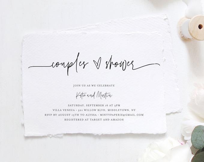 Minimalist Couples Shower Invitation Template, Printable Wedding Shower Invite, Jack and Jill Shower, 100% Editable, Templett #0009-288BS