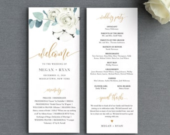 Winter Wedding Program Template, Printable Order of Service, Cotton & Greenery, Instant Download, 100% Editable Text, Templett #091-229WP