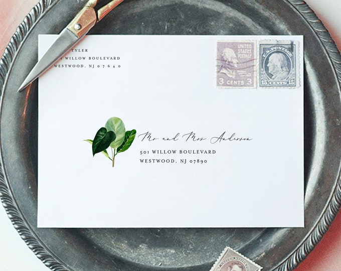 Modern Tropical Envelope Template, Beach Wedding Address Printable, Instant Download, Editable Text, Templett, A1, A7 Sizes #0012-147EN