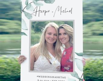 Wedding Photo Prop Frame, Bridal Shower Frame, Social Media Frame, Editable Template, Eucalyptus, INSTANT DOWNLOAD, Templett #049-103PP