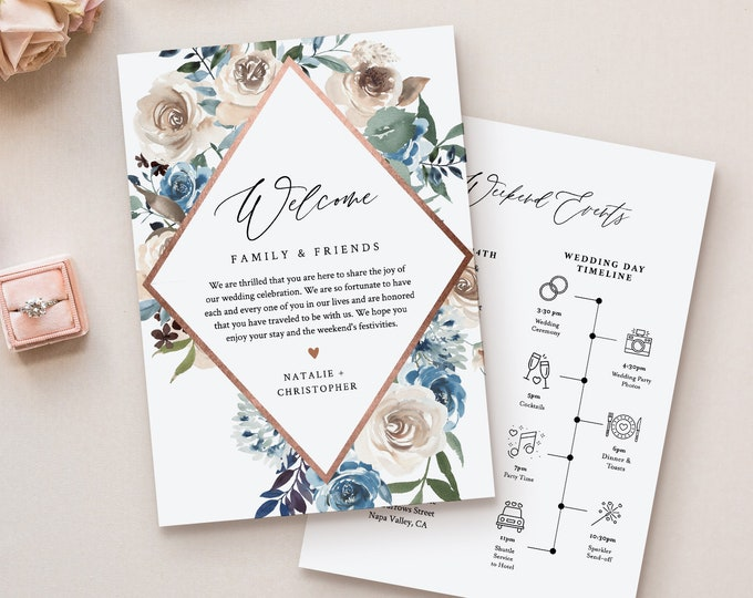 Wedding Welcome Letter & Timeline Template, Order of Events, Welcome Bag Note and Itinerary, INSTANT DOWNLOAD, 100% Editable Text #077-128WB