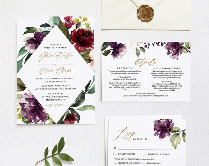 Wedding Invitation, RSVP and Details, Purple Florals & Greenery, Fall Winter Wedding, Editable Template, INSTANT DOWNLOAD, Templett #006A