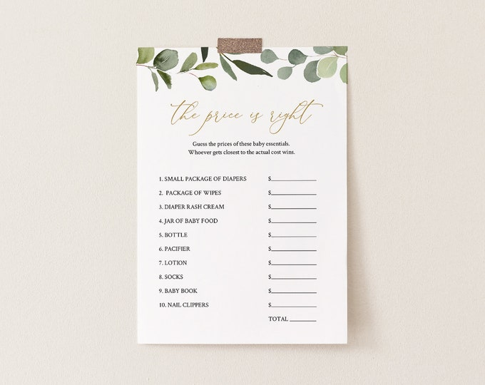 The Price Is Right Baby Shower Game Template, Greenery & Gold, 100% Editable Text, Printable, Instant Download, Templett #056-116BASG