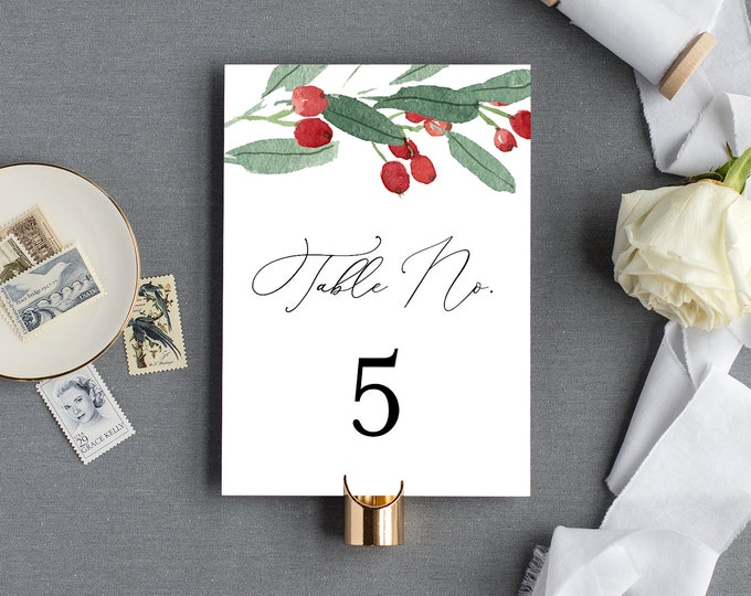 Table Number Card Template, Winter Wedding Table Number, Holly, Evergreen, Rustic, 100% Editable Text, INSTANT DOWNLOAD, 4x6, 5x7 #071-138TC