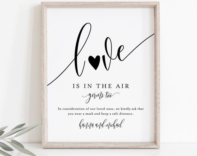 Love is in the Air Sign, Social Distance Wedding Sign, Minimalist, Covid Sign, 100% Editable Template, Instant Download, Templett #008-26S