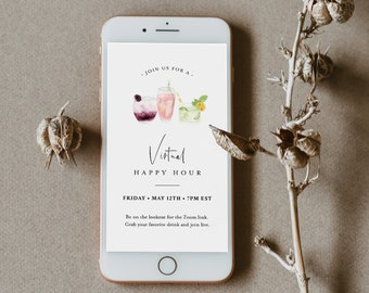 Virtual Happy Hour Invitation, Online Social Distancing Party, Zoom Cocktail Hour Evite, Quarantine, Editable, INSTANT DOWNLOAD #060-101VP