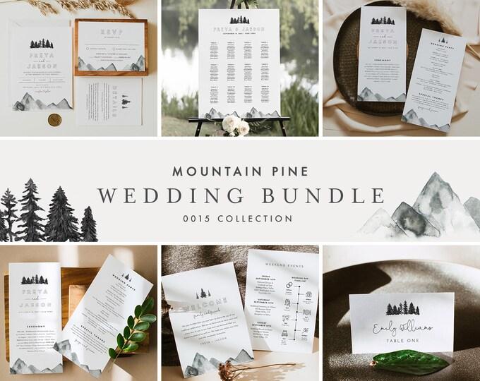 Mountain Pine Wedding Bundle, Rustic Wedding Essential Templates, Invitation Suite, Editable Text, Instant Download, Templett #015-BUNDLE