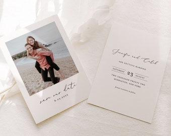 Photo Save the Date Template, 100% Editable, Minimalist Wedding Date Card, Upload Your Photo, Digital, Instant Download, Templett #045-184SD