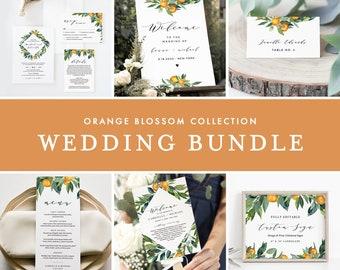 Citrus Wedding Bundle, Orange Blossom Wedding Essential Templates, Invitation Suite, Editable Text, Instant Download, Templett #084-BUNDLE