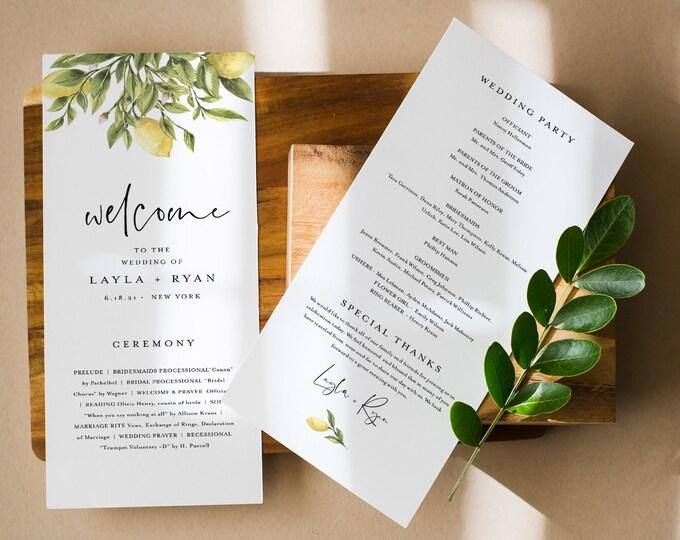 Lemon Wedding Program Template, Instant Download, Printable Summer Citrus Wedding Order of Service, 100% Editable Text, Templett #089-255WP