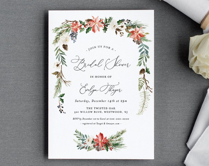 Winter Bridal Shower Invitation Template, Holly, Evergreen, Pine, Conifer, Couples Shower Invite, Editable, INSTANT DOWNLOAD #071-199BS
