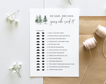 He Said She Said Bridal Shower Game, Guess Who Said It, Pine Bridal Shower Game, Editable Template, Instant Download, Templett #073-257BG