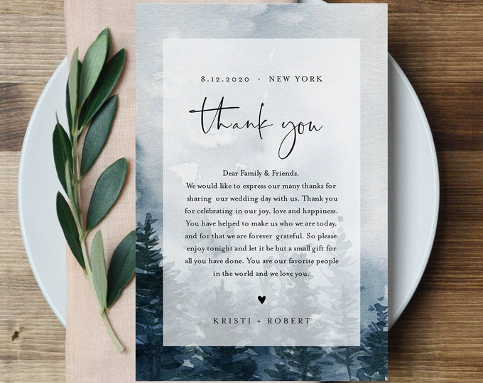 Pine Tree Thank You Letter, Napkin Note, Wedding Menu Thank You, Editable Template, In Lieu of Favors, INSTANT DOWNLOAD, 4x6 #070-133TYN