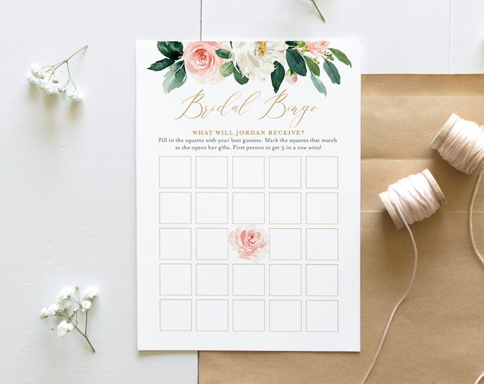 Printable Bridal Shower Bingo Game, Instant Download, Floral Bridal Shower Game, Personalize Bride's Name, Editable Template  #043-110BG