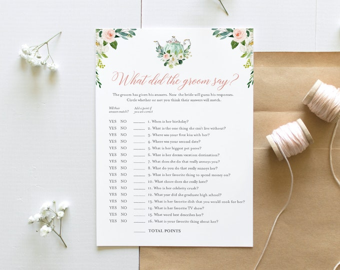 What Did the Groom Say, Tea Party Bridal Shower Game, Printable Bridal Game, Editable Template, Instant Download, Templett, 5x7 #085-237BG