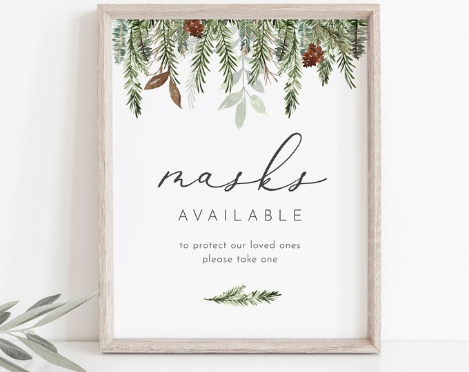 Masks Available Sign, Winter Wedding Sign, Social Distance, Editable Tabletop Sign, Printable, Instant Download, Templett, 8x10 #0017-01S