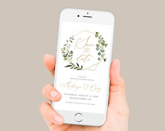 Greenery Save the Date, Electronic Invitation, Evite, Digital, Text Invite, INSTANT DOWNLOAD, 100% Editable Text, Templett #056-101SDD