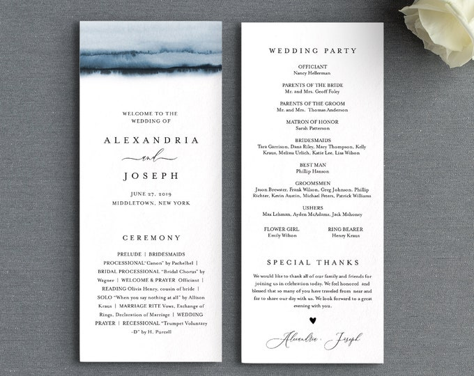 Watercolor Wedding Program Template, Printable Order of Service, Elegant, Modern, Instant Download, Editable Text, DIY, Templett #093A-232WP