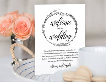 Welcome Bag Letter, Wedding Itinerary, Agenda, Welcome Bag Note, Wedding Thank You, Instant Download, Editable Template, Digital  #022-102WB