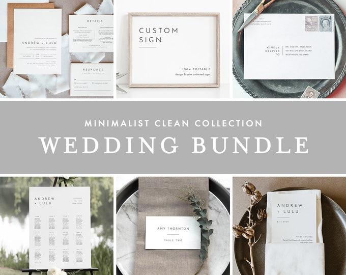 Minimalist Clean Wedding Bundle, Wedding Essential Template, Simple Invitation Suite, 100% Editable, Instant Download, Templett #094-BUNDLE