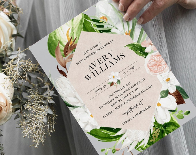 Tropical Bridal Shower Invitation, Summer Foliage, Printable Couples Shower Invite Template, INSTANT DOWNLOAD, Editable Text #079-227BS