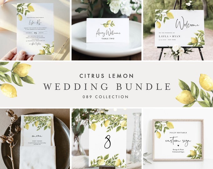 Lemon Wedding Bundle, Citrus Wedding Invitation Suite + Day Of Templates, 100% Editable Text, Instant Download, Templett #089-BUNDLE