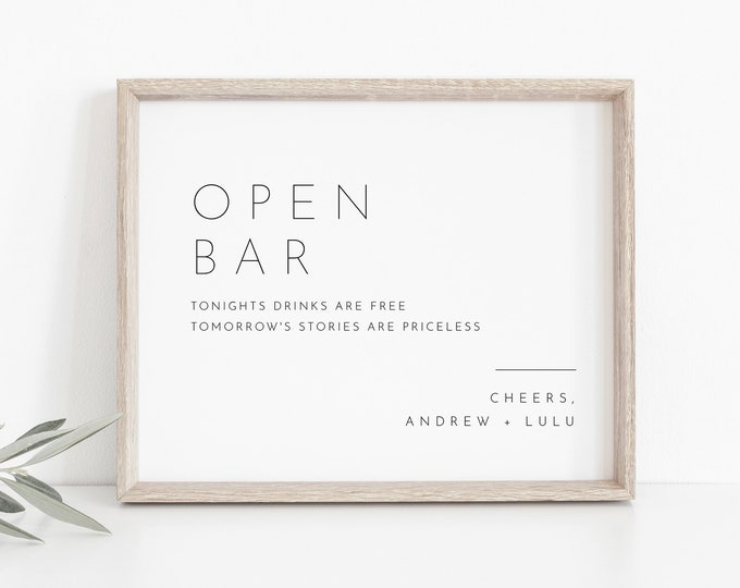Minimalist Open Bar Wedding Sign Template, Printable Bar Sign, Editable, Cocktails, Alcohol, Drinks, Instant Download, Templett #094-04S